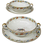 Haviland Limoges Arcadia Cream Soup Set with Parrot
