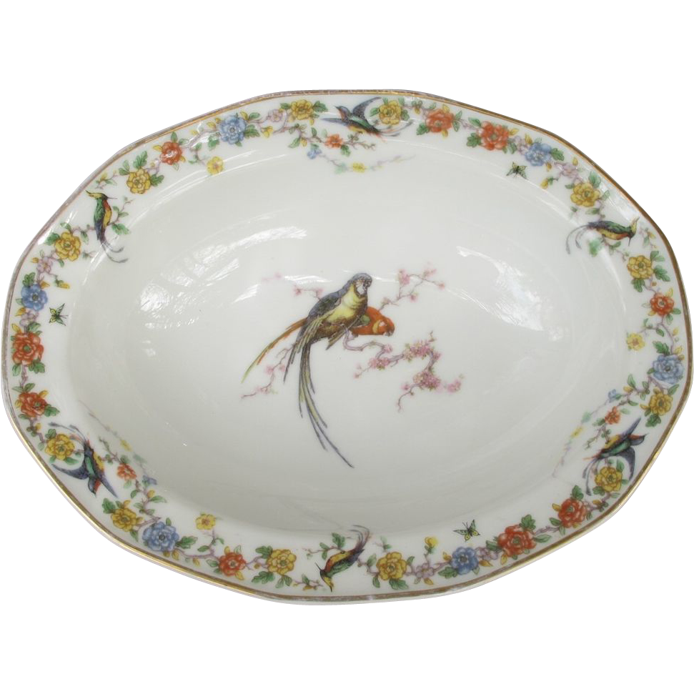 Haviland Limoges Arcadia Parrot Vegetable Bowl