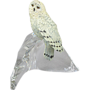 Franklin Mint Snowy Owl on Glass Base