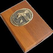 Wood Box with Bronze Wild Turkey Medallion