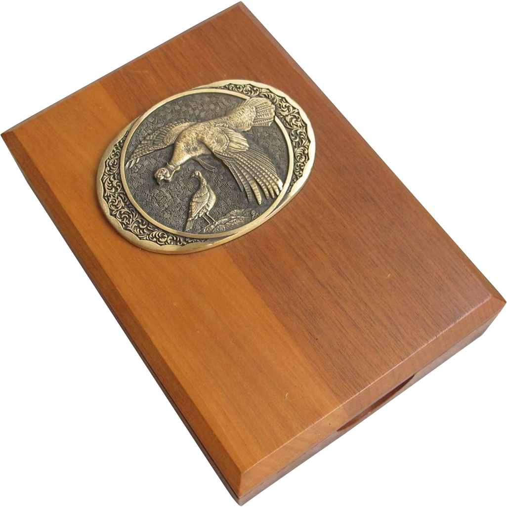 Wood Box with Bronze Wild Turkey Medallion