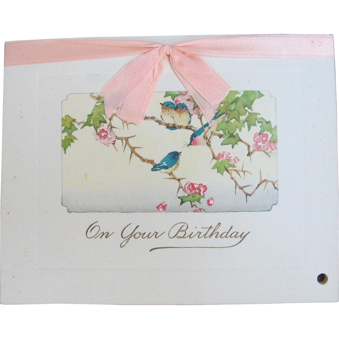 Victorian Birthday Card with Bluebirds