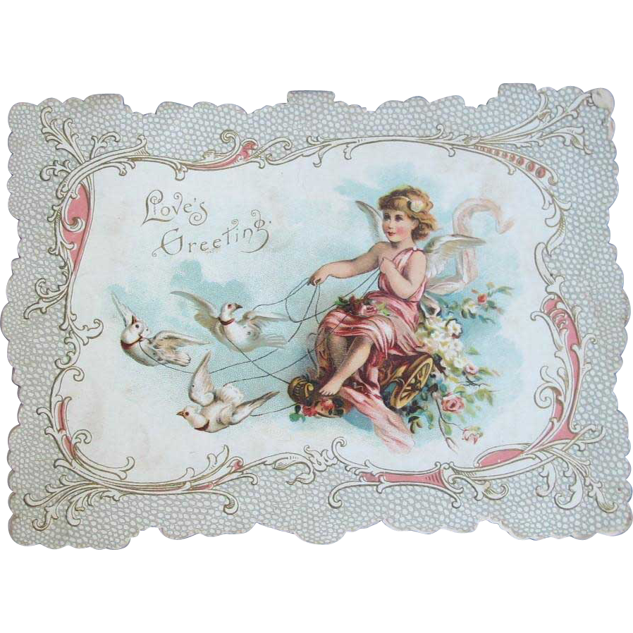 Victorian Valentine Card with Dove Pigeons Flowers