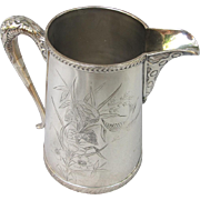Victorian Aesthetic Silver Plate Water Pitcher with Bird  Nest Flowers