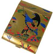Brass Art Deco Bird Compact