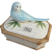 Fitz and Floyd Bamboo Parakeet Budgie Trinket Box