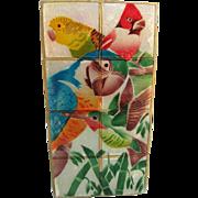 Rare Capiz Shell Parrot Budgie Hummingbird Cardinal Lampshade