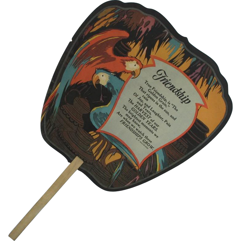 Art Deco Handled Advertising Friendship Fan with Macaws