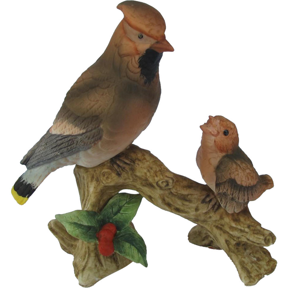 Lefton Waxwing and Fledgling Figurine
