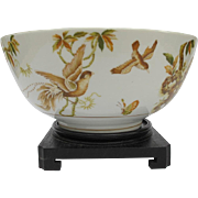 Large Oriental Bowl with Pheasant Birds Cockatoo Stand