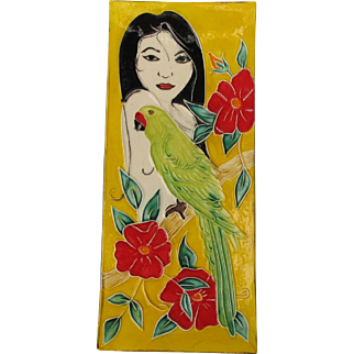 Vibrant Woman and Parrot Pottery Tile Tray