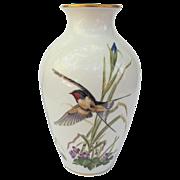 Franklin Porcelain Barn Swallow Violets Iris Vase