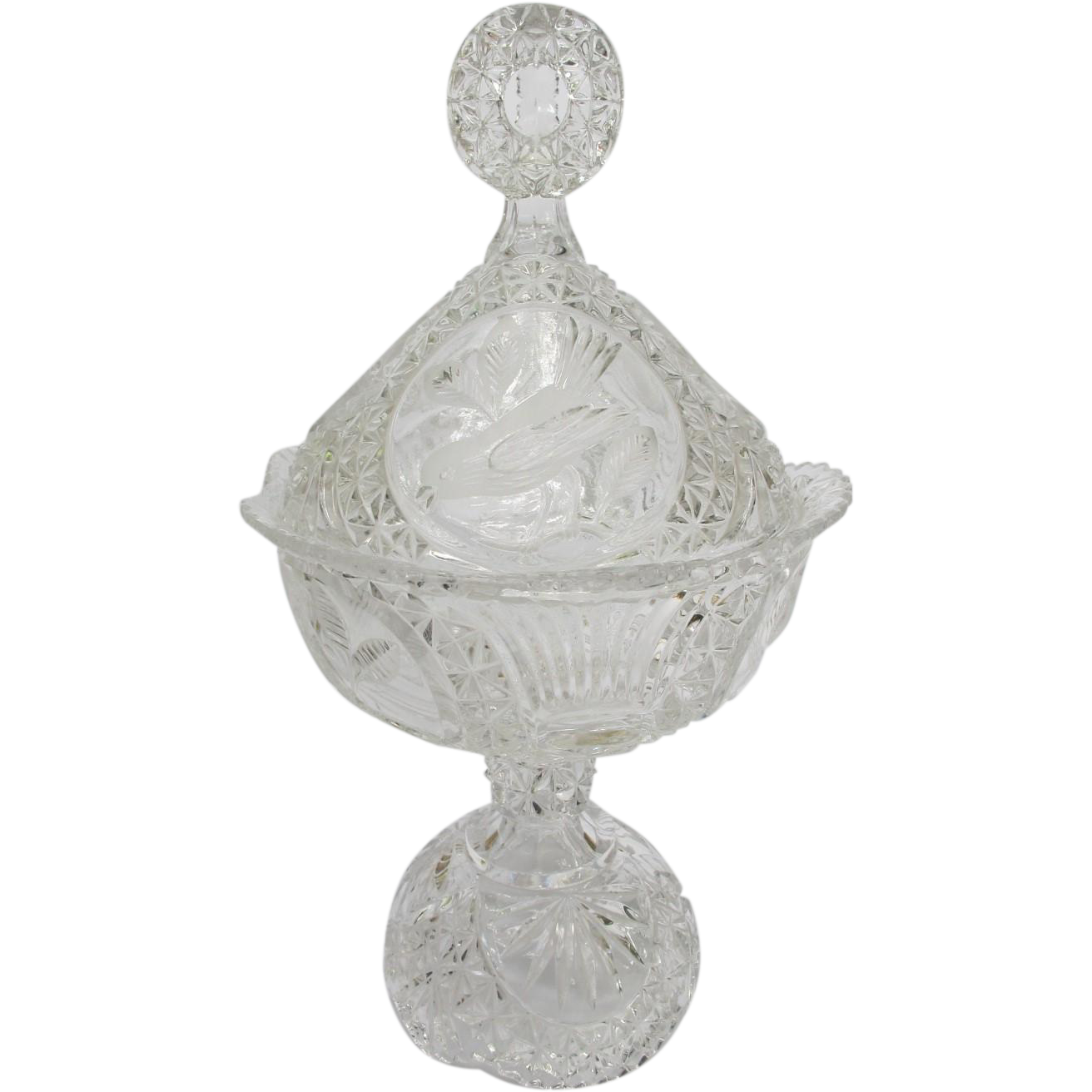 Hofabuer Crystal Bird Large Compote Candy Dish