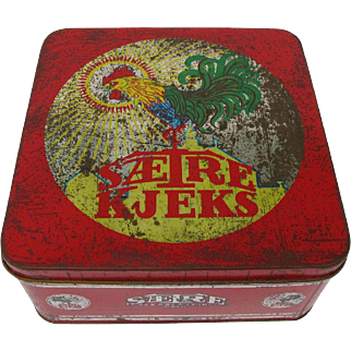Vintage Rooster Chicken Biscuit Tin Norway