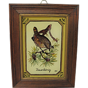 Vintage Reverse Painted Picture Wren Germany