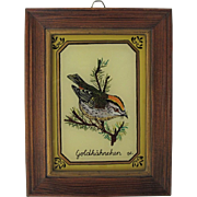 Vintage Firecrest Reverse Painted Picture from Germany