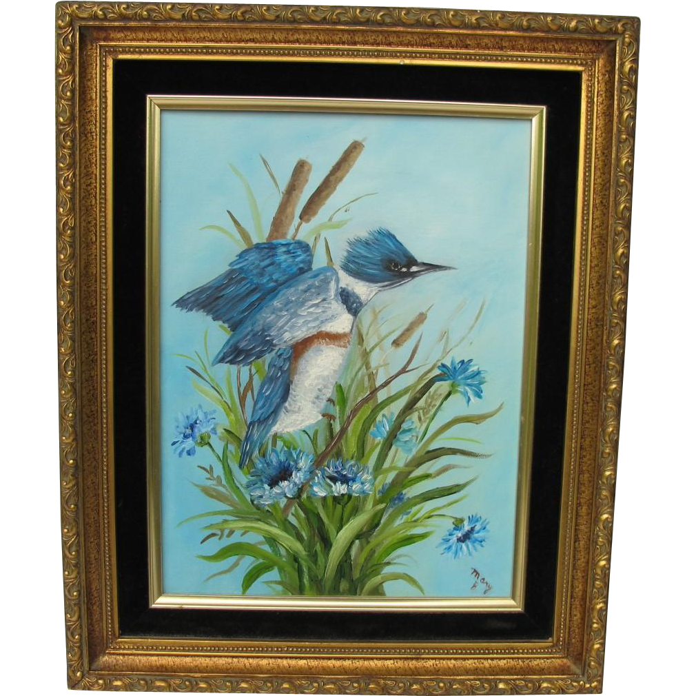 Original Kingfisher Bird Oil Painting