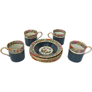 Old Worcester Parrot Demitasse Coffee Cup Set of Four