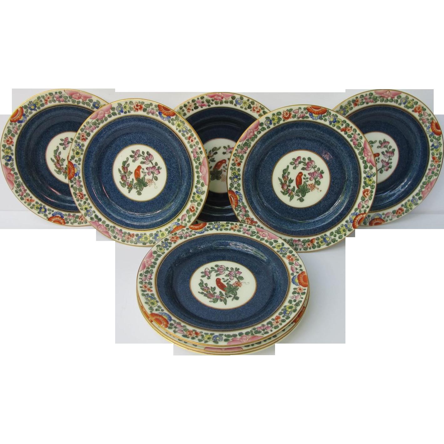 Vintage Old Worcester Parrot Dessert Bread Plates Set of Eight