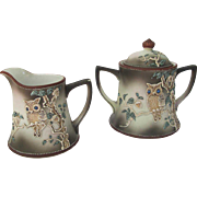 Vintage Moriage Owl Cream Sugar Set