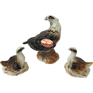 Vintage Bone China Miniature Hawk  Set
