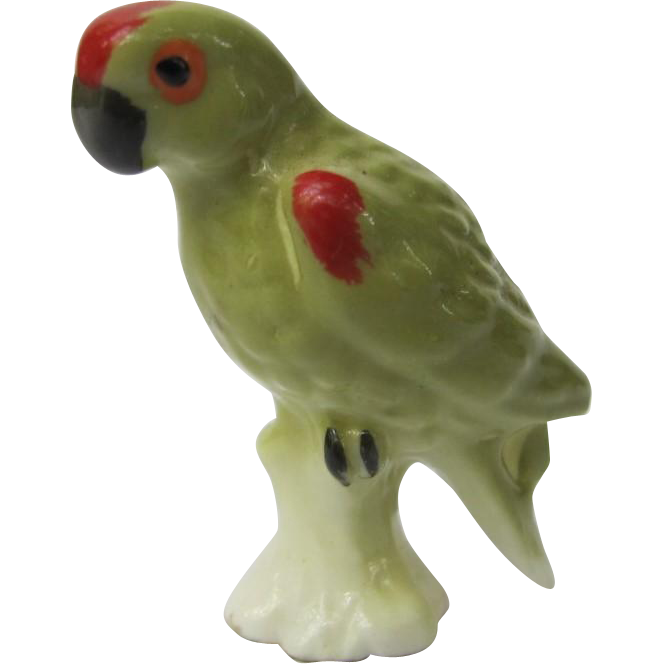 Miniature Green Parrot Figurine