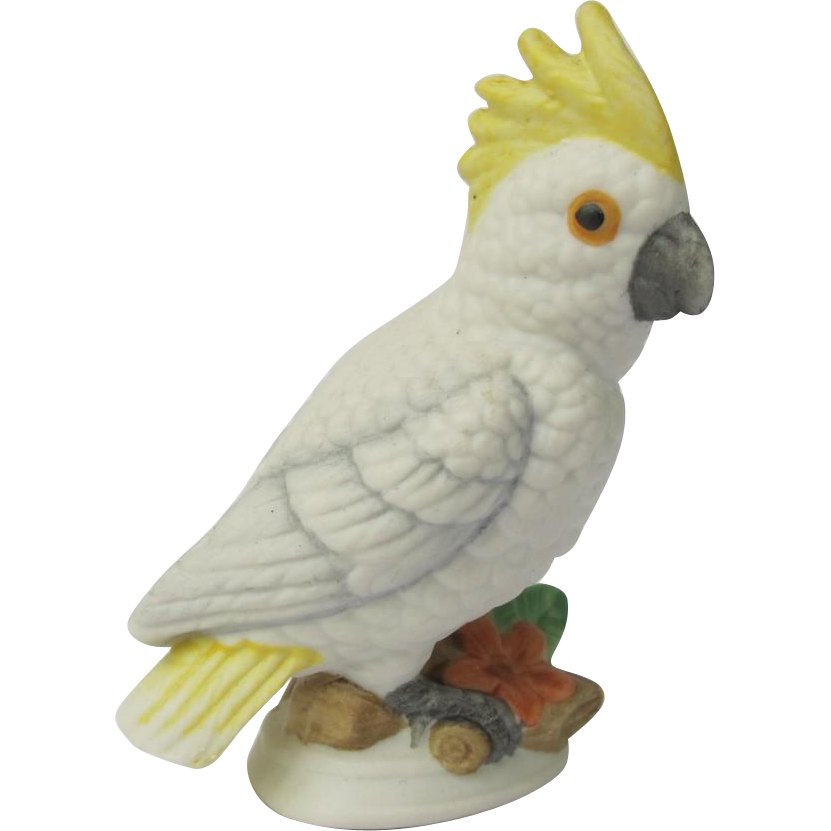 Vintage Sulphur Crested Cockatoo Miniature Figurine
