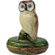 Limoges France Owl Trinket Box