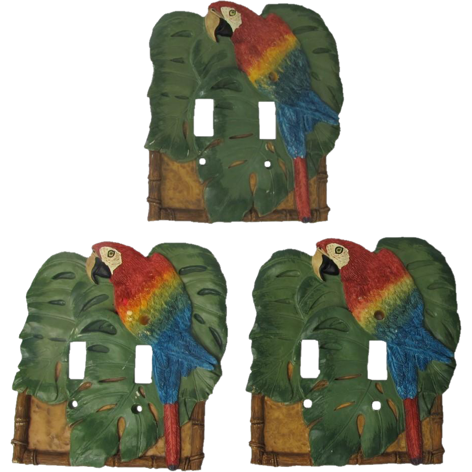VickiLane Macaw Double Switch Plates Set of Three