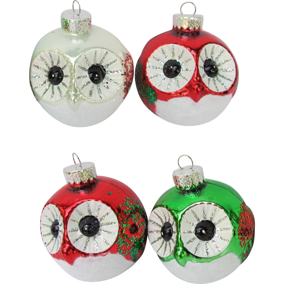 Roly Poly Owl Christmas Ornaments
