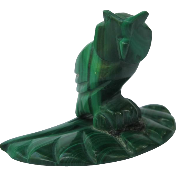 Vintage Malachite Gemstone Owl