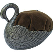 Vintage Metal Swan Pin Cushion