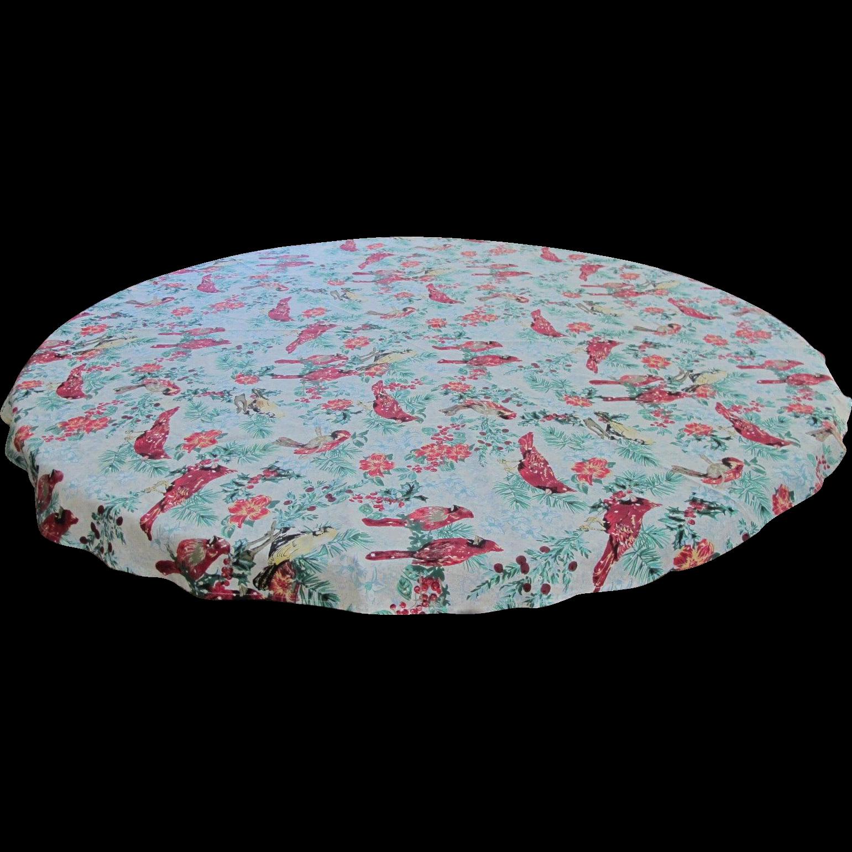 Christmas Cardinal Round Tablecloth