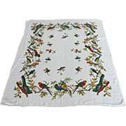 Vintage Rectangular Tablecloth from Europe with Colorful Birds