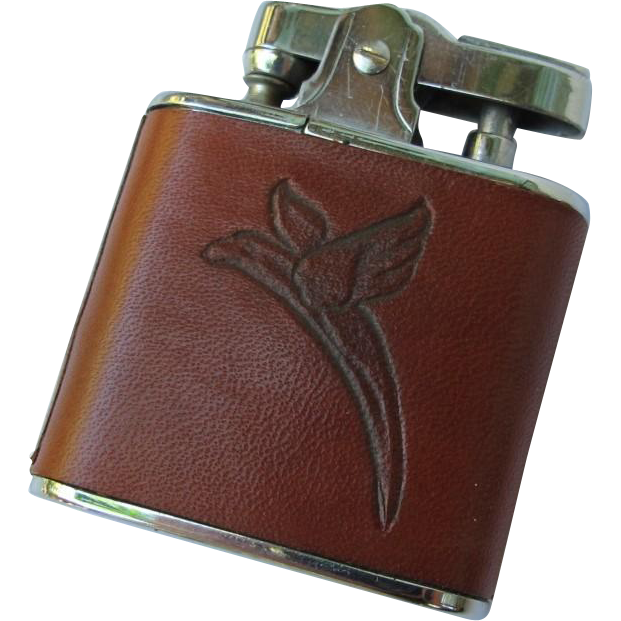Vintage Western Leather Lighter with Parrot Eagle