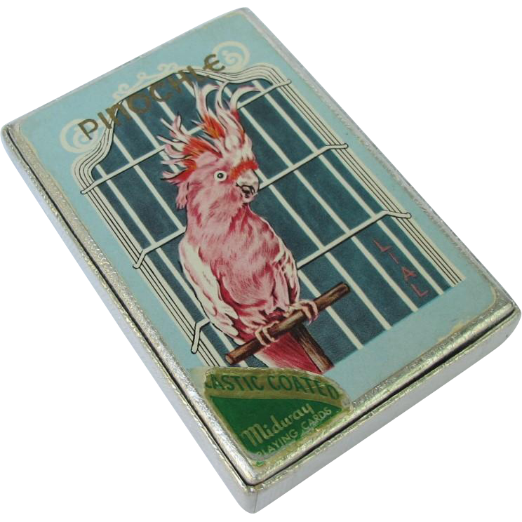 Vintage Pinochle Card Set with Cockatoo