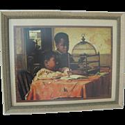 Vintage Framed Harry Roseland Children Bird Cage Print