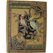 Victorian Scrapbook Cover with Cockatoo Parrot Flowers