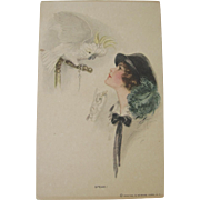 Vintage Speak Woman Cockatoo Postcard by Harrison Fisher