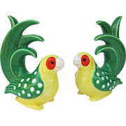 Vintage Fitz and Floyd Caribbean Parrot Bookends