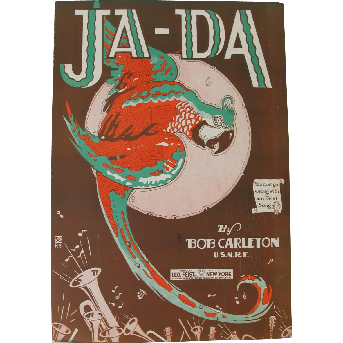 Vintage JaDa Sheet Music with Parrot