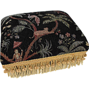 Jungle Theme Tapestry Foot Stool with Peacock