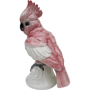Large Vintage Volkstedt Germany Pink Cockatoo Figurine
