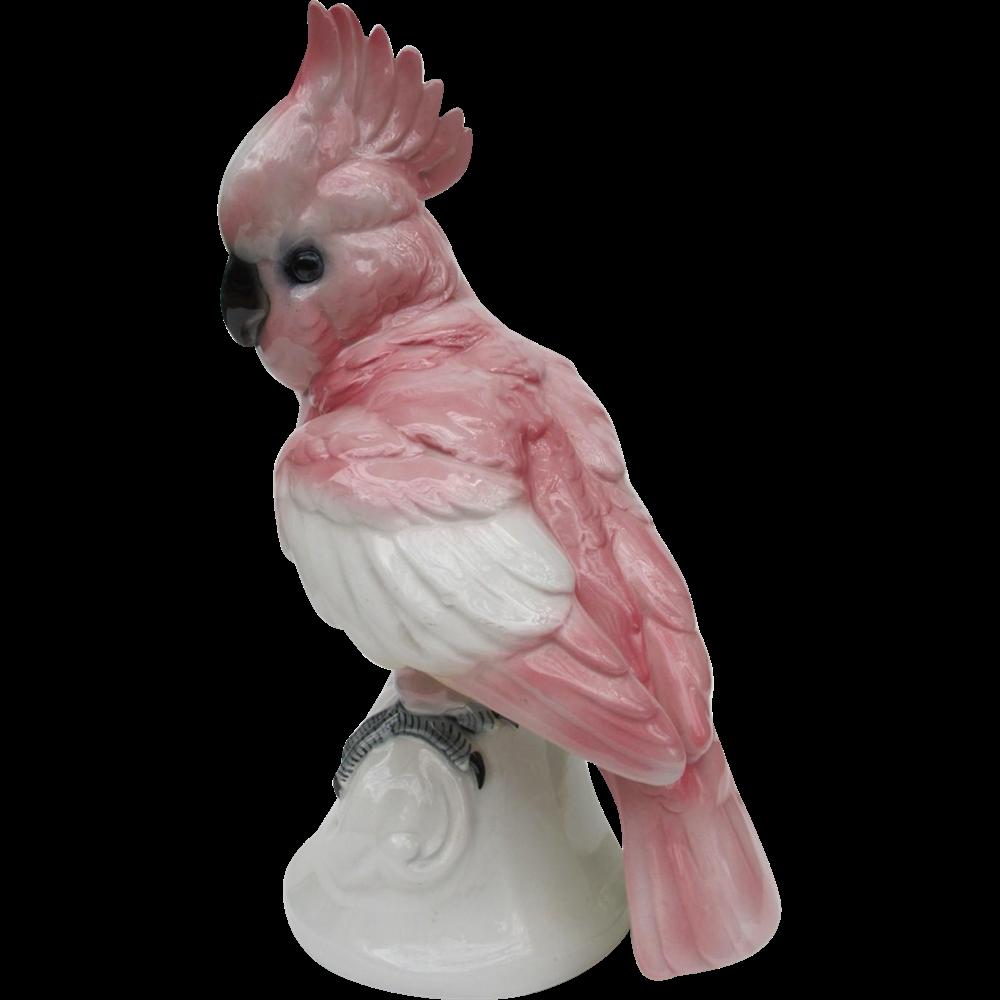 Large Vintage Volkstedt Germany Pink Cockatoo Figurine