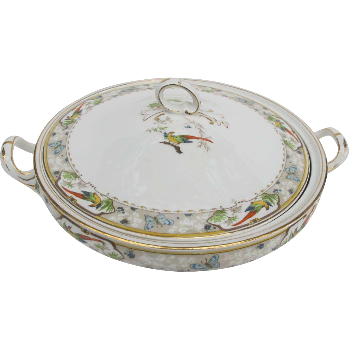 Meakin Covered Vegetable Bowl with Colorful Exotic Bird Butterflies