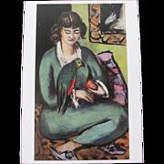 Woman with Amazon Parrot Postcard Switzerland
