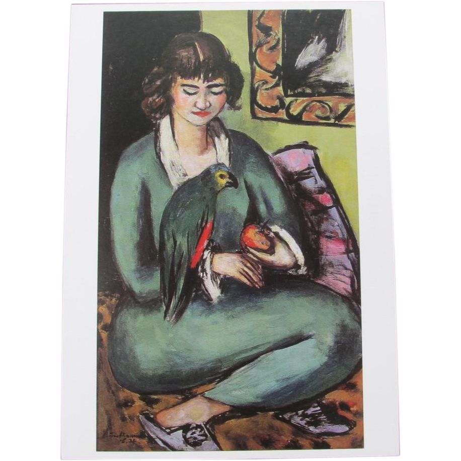Woman with Amazon Parrot Postcard Switzerland