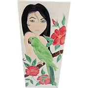 Hawaiian Woman with Parrot Tile