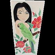 Hawaiian Woman with Parrot Tile