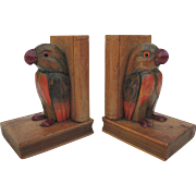 Vintage Parrot Wood Bookends from Germany